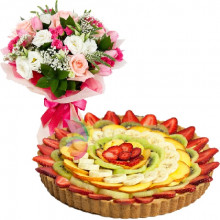 immagine Fruits Tart and pink bouquet