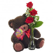 immagine Three red roses and a plush