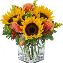 immagine Bouquet with sunflowers and roses